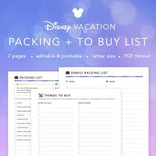 Vacation Packing Checklist Pdf Editable Disney World Vacation Packing And Things To Buy List Printable Blank Travel Packing Checklist Pdf Instant Download