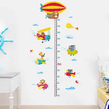 Wallpaper Measuring Chart Cartoon Kids Height Chart Wall Sticker Growth Measure Ruler