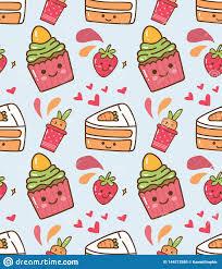 Strawberry Cupcake Kawaii Pattern Stock ...