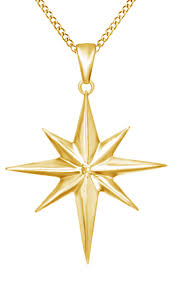 jewel zone us natural diamond accent north star pendant necklace in 14k rose gold over sterling silver com