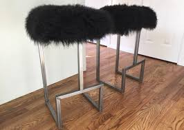 unique industrial furniture. Denver, Colorado Modern Industrial Bar Stools With GENUINE Sheepsking Lamb Fur Seats And Steel Frame Unique Furniture M
