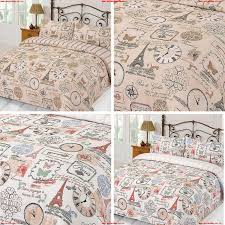 duvet cover with pillowcase parisienne eiffel tower stripe natural bedding set c9exhvl6