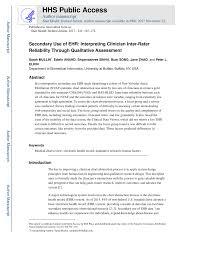 Pdf Secondary Use Of Ehr Interpreting Clinician Inter
