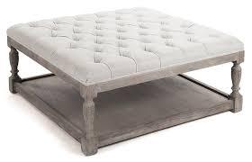 white tufted ottoman coffee table