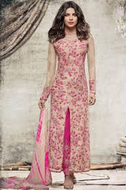 Images Of Designer Party Wear Salwar Kameez Priyanka Cream Pink Heavy Designer Embroidered Party Wear