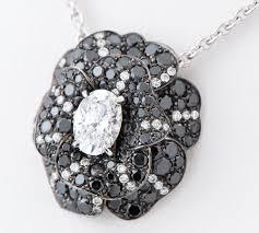 uoka gem market chanel camellia oval diamond black white diamond 18 karat gold white gold pendant necklace 2200000302496 rakuten global market