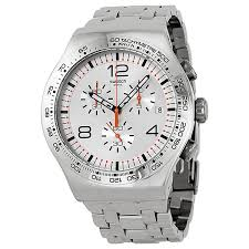 swatch watches jomashop swatch shiny addict silver dial chronograph stainless steel men s watch