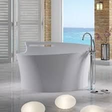 free standing solid surface stone modern soaking bathtub 67 x 65 inch sw 115