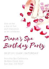 Spa Birthday Party Invitation Template Free Day Invitations