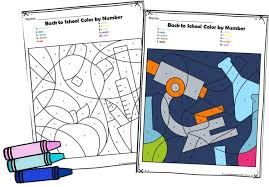 Castle color by big numbers worksheet. Free Back To School Color By Number