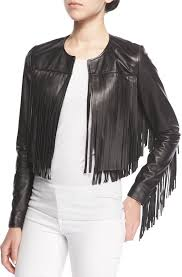cusp by cropped leather fringe jacket