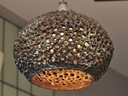 danish pierced ceramic pendant light by sejer pottery for