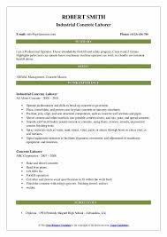 concrete laborer resume samples