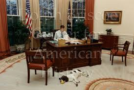 oval office history. [President Bush And Millie In Oval Office] Office History