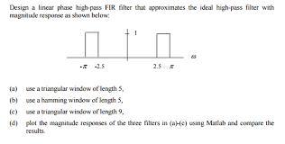 Matlab Code For Fir Filter Design Using Rectangular Window Design A Linear Phase High Pass Fir Filter That Ap