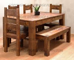 rustic kitchen table with bench. Rustic Farmhouse Dining Table | RUSTIC FARM 150CM DINING TABLE, 4 CHAIRS \u0026 125CM BENCH Kitchen With Bench N
