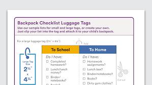 ways to teach your middle school child organization skills organization skills listen · graphic of backpack checklist luggage tags