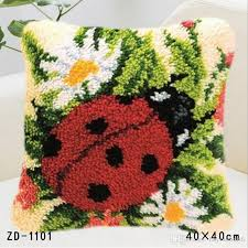 latch hook rug kits ladybird flowers embroidery carpet diy needlework unfinished crocheting rug yarn pillowcase for home use outdoor settee cushions black