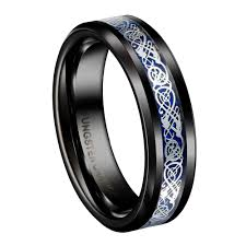Tungsten Carbide Ring Size Chart Us 14 12 29 Off 8mm Black Tungsten Carbide Ring Silvering Celtic Dragon Blue Carbon Fibre Wedding Band Mens Fashion Jewelry Size 6 13 In Wedding