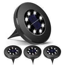 <b>8 LED Solar</b> Powered Black Shell Ground Lamp Outdoor Waterproof ...