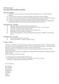 Delivery Driver Job Description Template Food Resume Auto Parts For