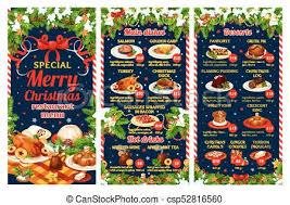 Christmas Restaurant Menu Of Winter Holiday Dinner