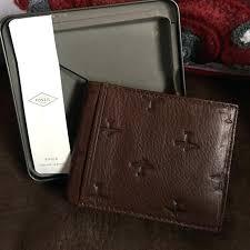 fossil leather wallet mens plane checkbook black