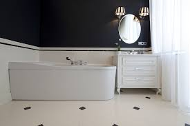 diy bathroom wall panels with drawers and white curtains and bath tub