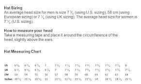 Average Head Size Chart Sizing Chart Myhandmadehats
