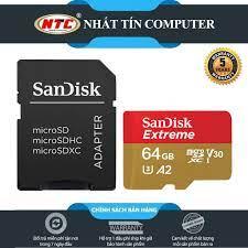 Thẻ Nhớ MicroSDXC SanDisk Extreme V30 U3 4K A2 64GB R160MB/s W60MB/s - Kèm  Adapter (Gold) - Nhất Tín Computer