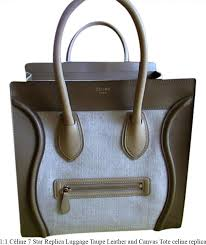 1 1 céline 7 star replica luggage taupe leather and canvas tote celine replica box