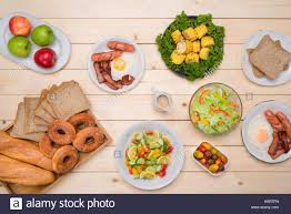 Family dinner table Top view of homemade meal Stock Photo
