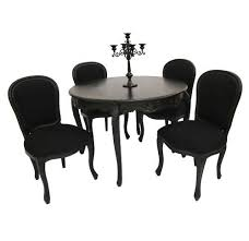 black dining table and chairs stark definite statement french style furniture black dining room