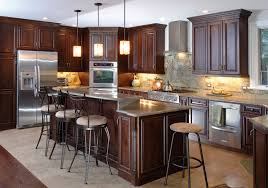 Brilliant Painting Cherry Kitchen Cabinets White Dark Wood In Throughout Design Decorating
