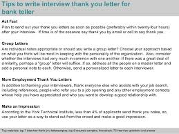 bank teller tips to write interview