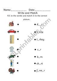 Er, ir and ur sounding letters matching worksheet 1. Ar Er Ir Or Ur Write And Match Esl Worksheet By Nika Dm