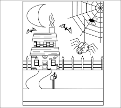 Small Picture Halloween Spider and Haunted House Craft Free Printable Coloring