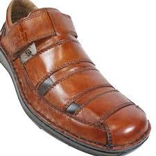05278 24 brown leather mens rip tape summer shoes