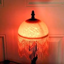 red glass lamp antique art beaded marbled shade circa lamps