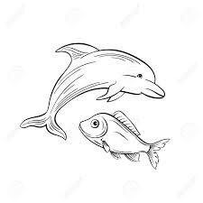Dolphin And Fish Monochrome Flat Vector Illustration Sea Animals