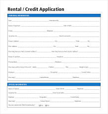 Credit Application For Rental Rental Credit Application Form Free Toptier Business