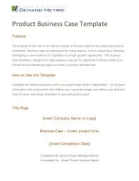 Simple Business Case Templates Product Business Case Template