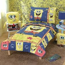 Cool Kids Bedroom Dcor With Yellow Blue Accent Color And Spongebob Bedroom  Ideas With Spongebob Stuffs On Rocking Chair And Carpet With Spongebob  Bedding ...