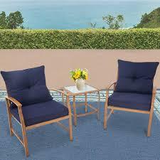 Amazon com solaura patio outdoor furniture 3 piece bistro set conversation sofa light brown coated metal frame nautical navy blue cushions glass coffee