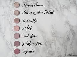 makeup geek collection review swatches emilyloula shimma shimma starry e cinderella sorbet confection petal pusher
