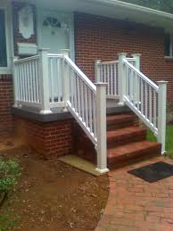 exterior handrails for concrete steps. white railing on a concrete porch | boling front tile and vinyl reddick exterior handrails for steps