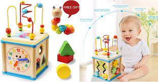 lualua baby toys for 1 2 3 year old educational wooden bead maze shape sorter activity cube 12 49