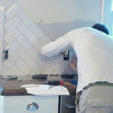 herringbone tile backsplash Kitchen makeover Pinterest