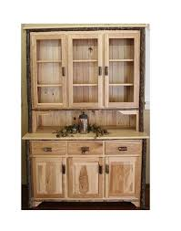 3 door hickory hutch with glass doors