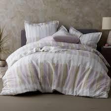 the company watercolor stripe organic cotton percale twin duvet cover